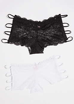 2-Pack Black and White Strappy Lace Boyshort Undies Set