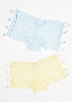 2-Pack Blue and Yellow Strappy Lace Boyshorts Set