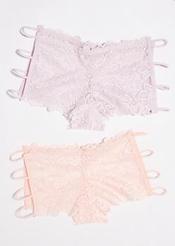 2-Pack Pink and Mauve Floral Lace Boyshort Undies Set