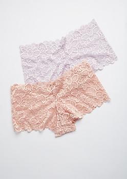 2-Pack Pink and Purple Lace Boyshorts Set