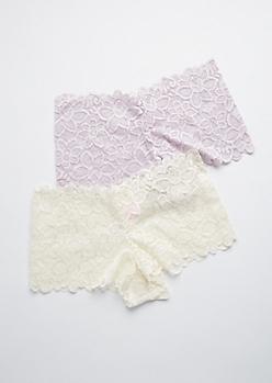 2-Pack Purple & Ivory Floral Lace Boyshorts Set