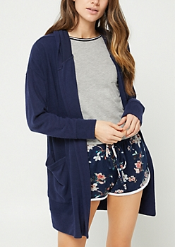 Navy Hooded Duster
