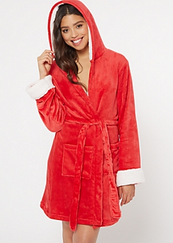 Red Hooded Plush Robe