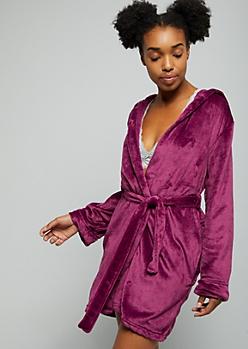 Purple Plush Get It Girl Tie Front Robe