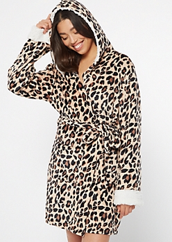 Cheetah Print Sherpa Hooded Robe