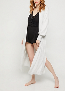 Gray Hacci Knit Long Line Robe