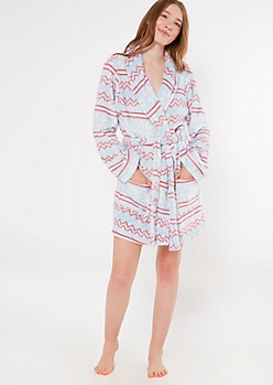Blue Fair Isle Cozy Plush Robe