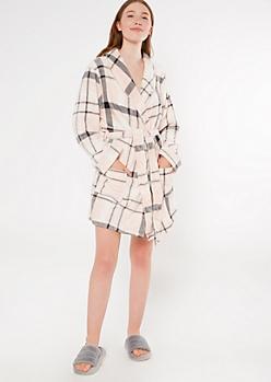 Pink Plaid Cozy Plush Robe