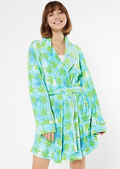 Blue Weed Print Cozy Plush Robe