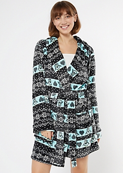 Black Penguin Fair Isle Cozy Plush Robe