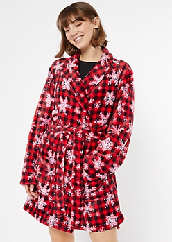 Red Plaid Snowflake Print Cozy Plush Robe