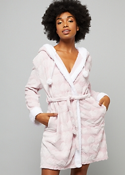 Pink Plush Heart Print Woke Up Like This Sequin Hooded Robe