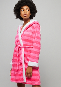 Pink Striped Angel Sequin Plush Hooded Robe