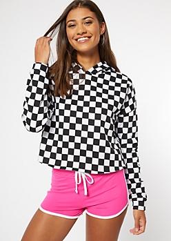 Checkered Print Raw Cut Hoodie