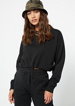 Black Crew Neck Drawstring Hem Sweatshirt