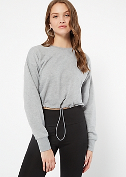 Gray Crew Neck Drawstring Hem Sweatshirt