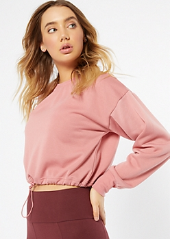 Pink Crew Neck Drawstring Hem Sweatshirt