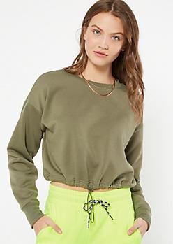 Olive Crew Neck Drawstring Hem Sweatshirt