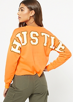 Neon Orange Hustle Graphic Sweatshirt