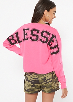 Neon Fuchsia Blessed Graphic Sweatshirt