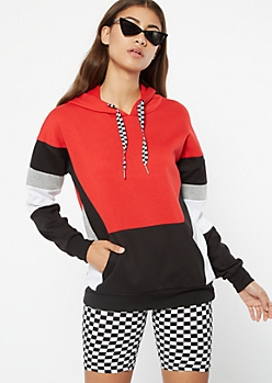 Red Striped Colorblock Pullover Hoodie