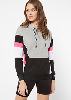 Neon Fuchsia Striped Colorblock Pullover Hoodie
