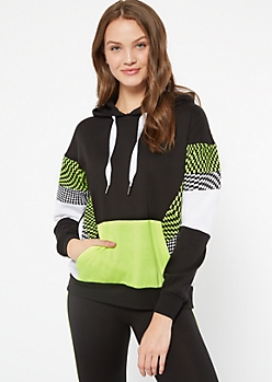 Neon Yellow Checkered Print Colorblock Pullover Hoodie