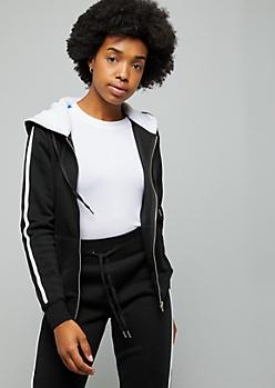 Black Side Striped Zip Front Sherpa Hoodie