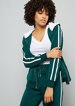 Green Side Striped Zip Front Sherpa Hoodie