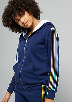 Navy Rainbow Side Striped Zip Front Hoodie
