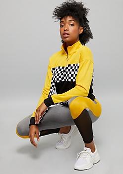 Yellow Colorblock Checkered Print Half Zip Pullover