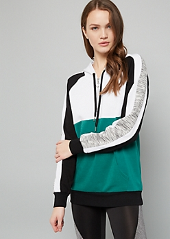 Green Colorblock Space Dye Half Zip Fleece Hoodie