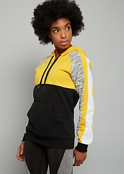 Yellow Colorblock Space Dye Half Zip Fleece Hoodie