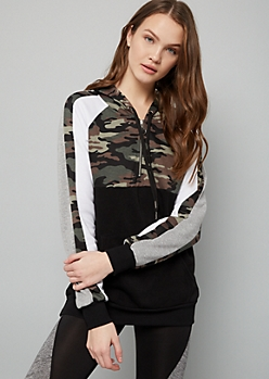 Camo Print Colorblock Marled Half Zip Fleece Hoodie