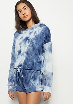 Blue Tie Dye Drawstring Hem Hoodie