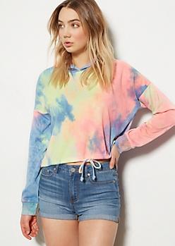 Rainbow Tie Dye Drawstring Hem Hoodie