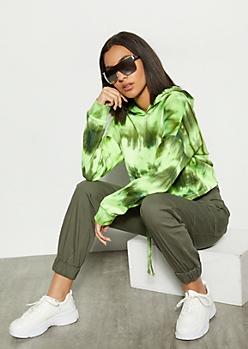 Neon Green Tie Dye Drawstring Hem Hoodie