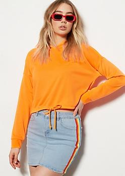 Neon Orange Drawstring Hem Hoodie
