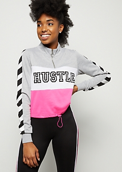 Neon Pink Colorblock Hustle Graphic Sweatshirt