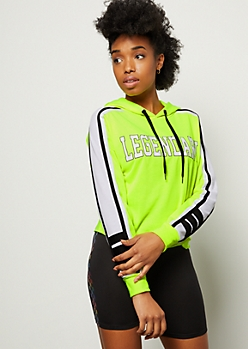 Neon Yellow Side Striped Legendary Graphic Hoodie