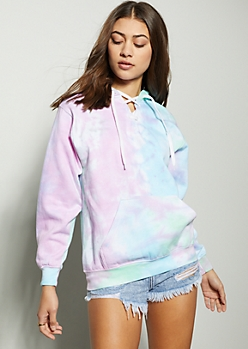 Pastel Tie Dye Lace Up Neck Hoodie