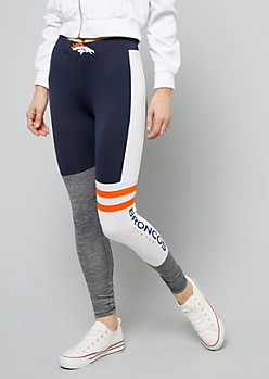 NFL Denver Broncos Navy Colorblock Athletic Leggings