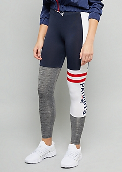 NFL New England Patriots Navy Varsity Striped Leggings