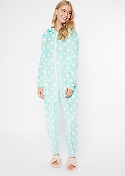 Mint Polka Dot Plush Onesie