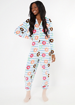 Blue Donut Print Plaid Plush Onesie