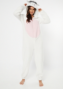 White Llama Hooded Mega Plush Onesie