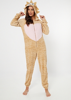 Tan Hedgehog Hooded Plush Onesie
