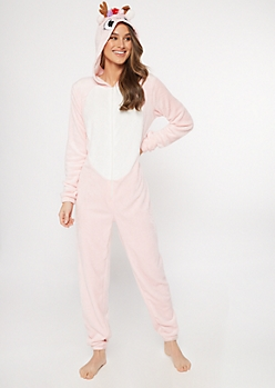 Pink Reindeer Hooded Plush Onesie