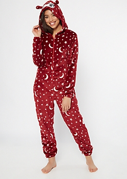 Burgundy Star Owl Hooded Plush Onesie