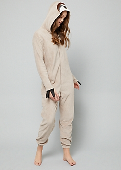 Tan Three Toed Sloth Plush Pajama Onesie